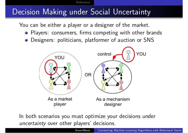 References Decision Making under Social Uncertainty You can be either a player or a designer of the market. Players: consu...