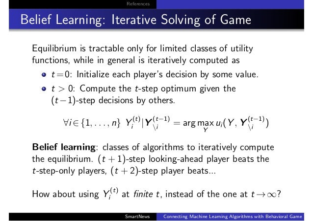 References Belief Learning: Iterative Solving of Game Equilibrium is tractable only for limited classes of utility functio...