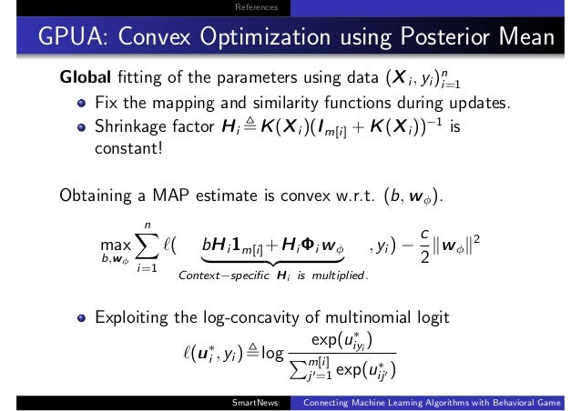 References GPUA: Convex Optimization using Posterior Mean Global fitting of the parameters using data (Xi , yi )n i=1 Fix t...