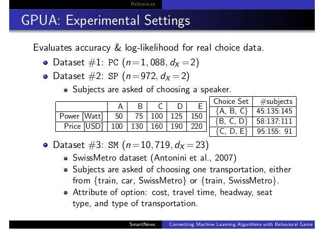 References GPUA: Experimental Settings Evaluates accuracy & log-likelihood for real choice data. Dataset #1: PC (n=1, 088,...