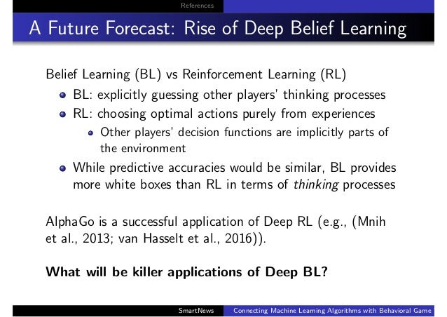 References A Future Forecast: Rise of Deep Belief Learning Belief Learning (BL) vs Reinforcement Learning (RL) BL: explici...