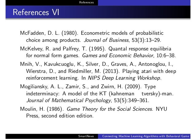 References References VI McFadden, D. L. (1980). Econometric models of probabilistic choice among products. Journal of Bus...