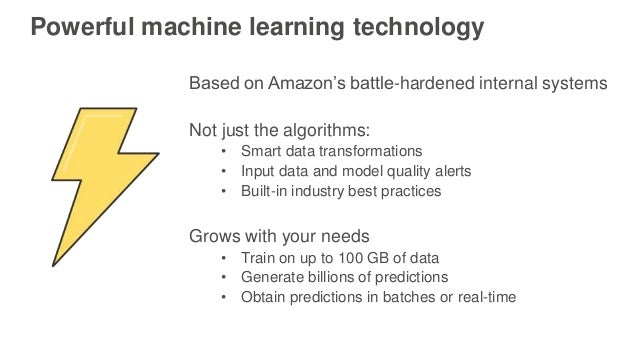 Powerful machine learning technology Based on Amazon's battle-hardened internal systems Not just the algorithms: • Smart d...