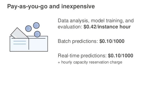 Pay-as-you-go and inexpensive Data analysis, model training, and evaluation: $0.42/instance hour Batch predictions: $0.10/...