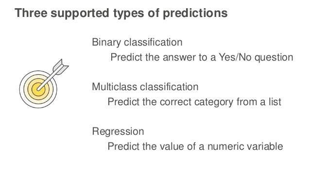 Three supported types of predictions Binary classification Predict the answer to a Yes/No question Multiclass classificati...