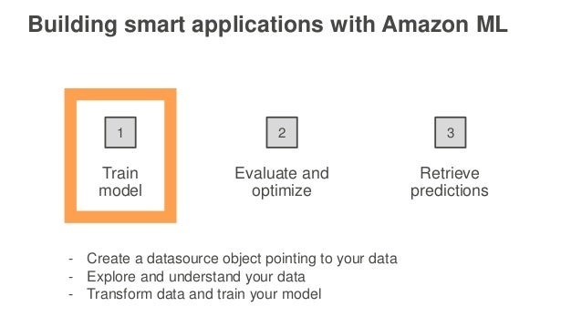 Train model Evaluate and optimize Retrieve predictions 1 2 3 Building smart applications with Amazon ML - Create a datasou...