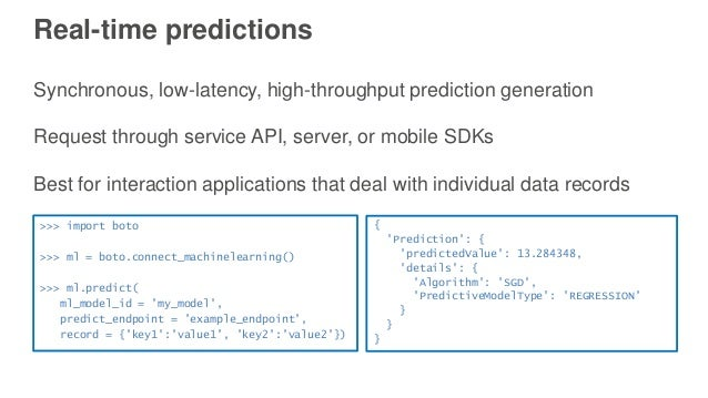 Real-time predictions Synchronous, low-latency, high-throughput prediction generation Request through service API, server,...