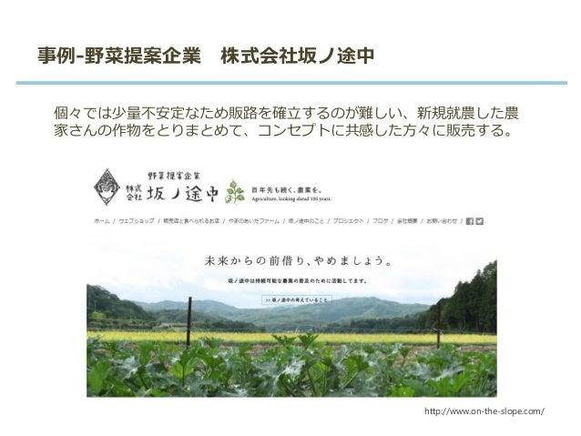 事例-野菜提案企業 株式会社坂ノ途中 個々では少量不安定なため販路を確立するのが難しい、新規就農した農 家さんの作物をとりまとめて、コンセプトに共感した方々に販売する。 http://www.on-the-slope.com/