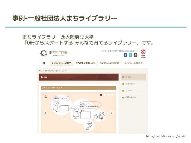 事例-一般社団法人まちライブラリー まちライブラリー@大阪府立大学 「0冊からスタートする みんなで育てるライブラリー」です。 http://machi-library.org/what/
