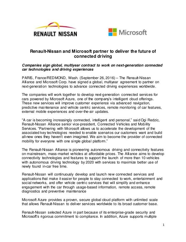 Renault Nissan And Microsoft Partner Press Release