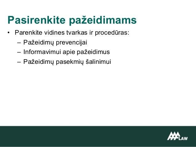 • Parenkite vidines tvarkas ir procedūras: – Pažeidimų prevencijai – Informavimui apie pažeidimus – Pažeidimų pasekmių šal...