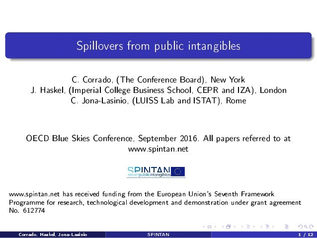 Spillovers from public intangibles C. Corrado, (The Conference Board), New York J. Haskel, (Imperial College Business Scho...