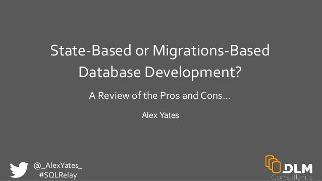 @_AlexYates_ #SQLRelay State-Based or Migrations-Based Database Development? A Review of the Pros and Cons… Alex Yates