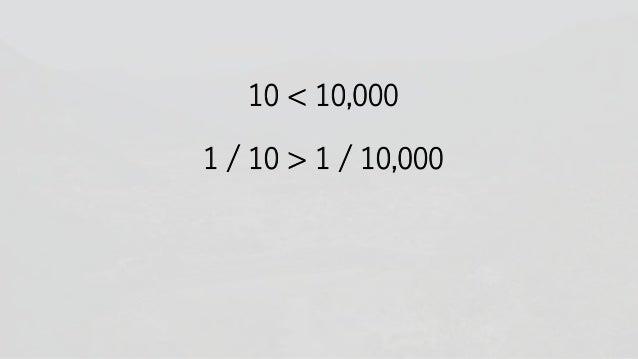 10 < 10,000 1 / 10 > 1 / 10,000
