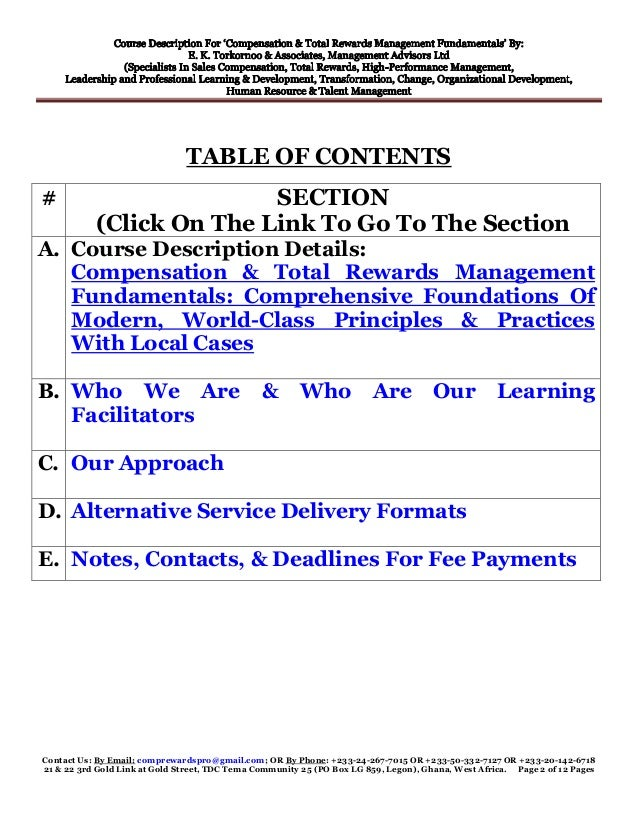 Modern Classroom Description ~ Course description compensation total rewards