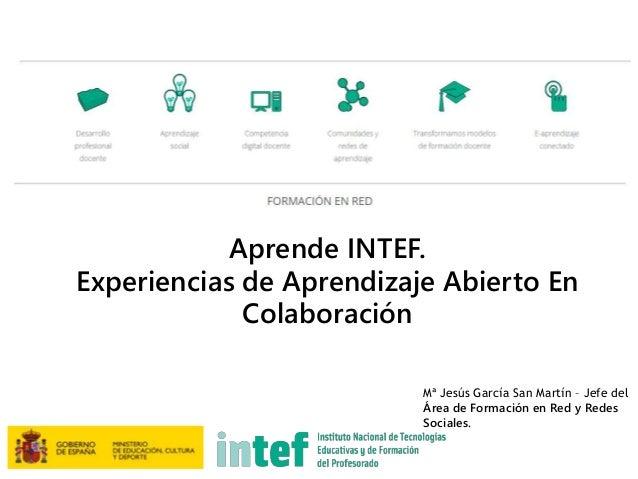 Mª Jesús García San Martín – Jefe del Área de Formación en Red y Redes Sociales. Aprende INTEF. Experiencias de Aprendizaj...