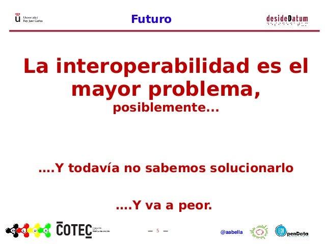 5 @aabella Futuro La interoperabilidad es el mayor problema, posiblemente... ….Y todavía no sabemos solucionarlo ….Y va a ...