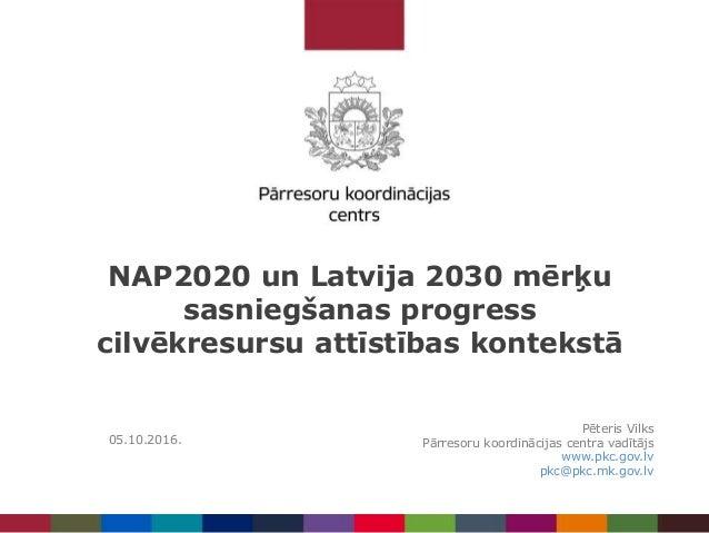 NAP2020 un Latvija 2030 mērķu sasniegšanas progress cilvēkresursu attīstības kontekstā Pēteris Vilks Pārresoru koordinācij...
