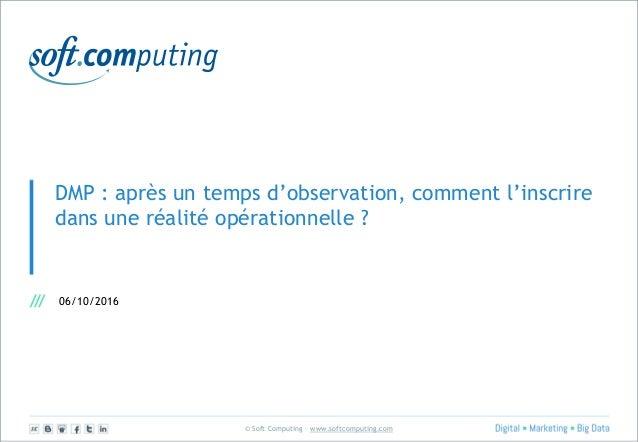 © Soft Computing – www.softcomputing.com DMP : après un temps d'observation, comment l'inscrire dans une réalité opération...
