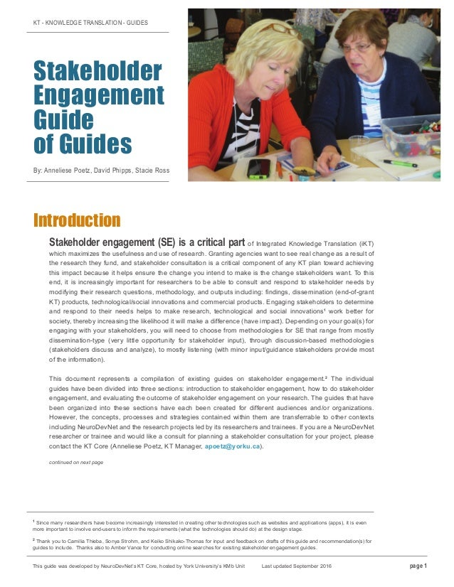 KT - KNOWLEDGE TRANSLATION - GUIDES Stakeholder Engagement Guide of Guides By: Anneliese Poetz, David Phipps, Stacie Ross ...