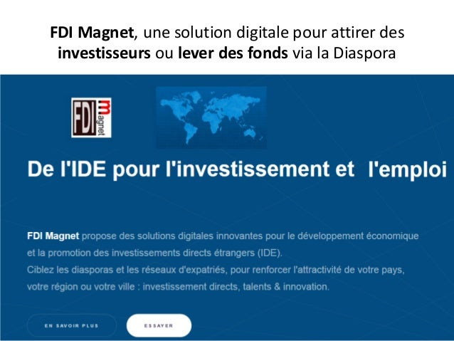 FDI Magnet, une solution digitale pour attirer des investisseurs ou lever des fonds via la Diaspora