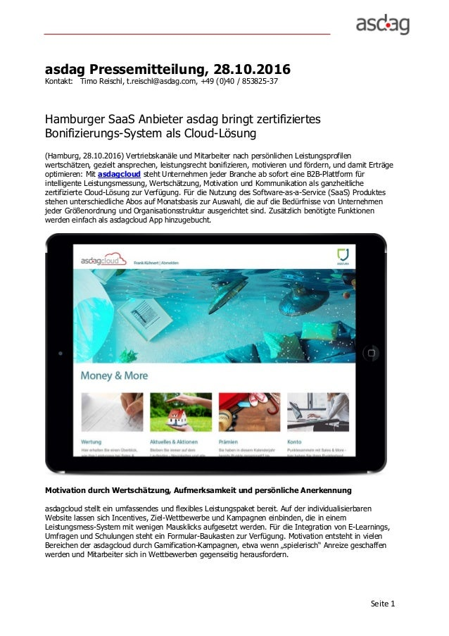 Seite1 asdag Pressemitteilung, 28.10.2016 Kontakt: Timo Reischl, t.reischl@asdag.com, +49 (0)40 / 853825-37 Hamburger Sa...
