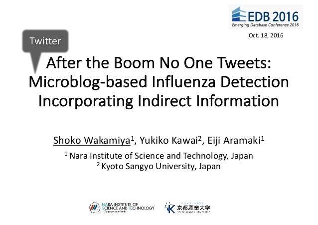 AftertheBoomNoOneTweets: Microblog-basedInfluenzaDetection IncorporatingIndirectInformation ShokoWakamiya1,Y...