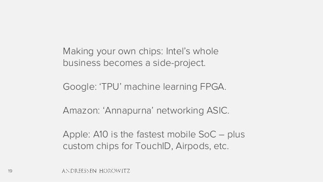 19 Making your own chips: Intel's whole business becomes a side-project. Google: 'TPU' machine learning FPGA. Amazon: 'Ann...