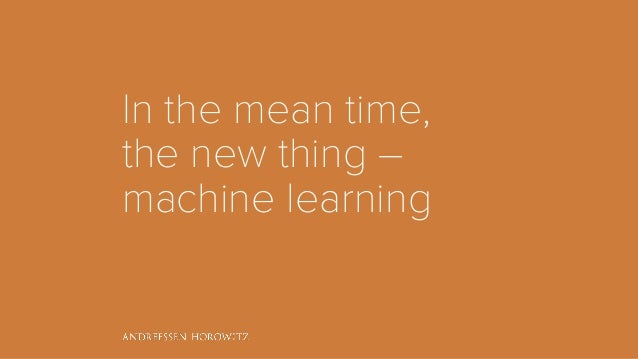 In the mean time, the new thing – machine learning