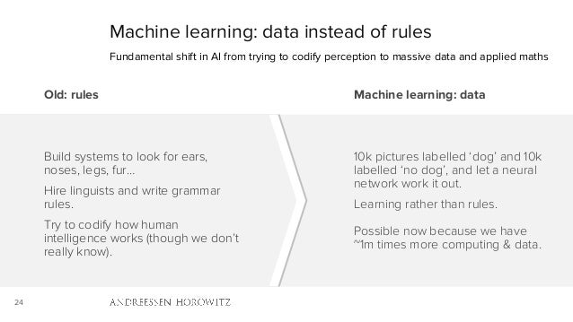 24 Machine learning: data instead of rules Fundamental shift in AI from trying to codify perception to massive data and ap...