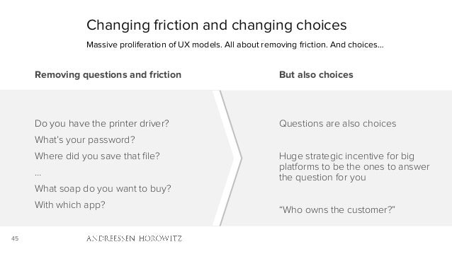 45 Changing friction and changing choices Massive proliferation of UX models. All about removing friction. And choices… Re...