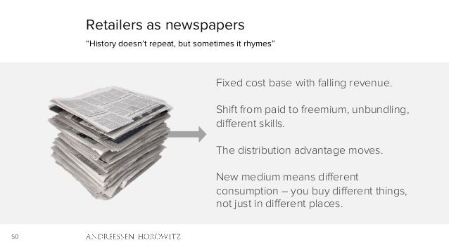 "50 Retailers as newspapers ""History doesn't repeat, but sometimes it rhymes"" Fixed cost base with falling revenue. Shift f..."