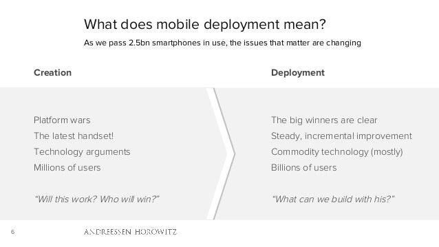 """6 What does mobile deployment mean? Creation Platform wars The latest handset! Technology arguments Millions of users """"Wil..."""