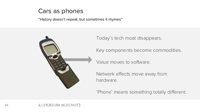 """64 Cars as phones """"History doesn't repeat, but sometimes it rhymes"""" Today's tech moat disappears. Key components become co..."""