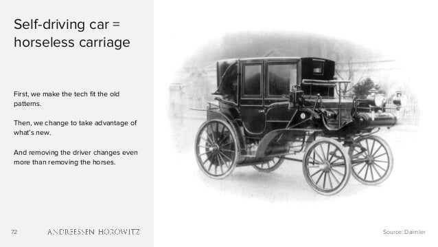 72 Self-driving car = horseless carriage First, we make the tech fit the old patterns. Then, we change to take advantage o...
