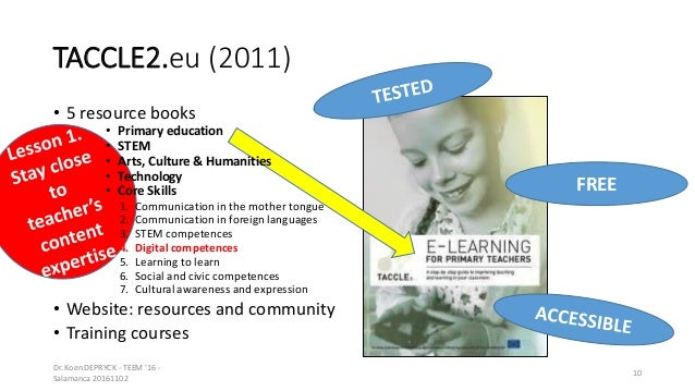 TACCLE2.eu (2011) • 5 resource books • Primary education • STEM • Arts, Culture & Humanities • Technology • Core Skills 1....