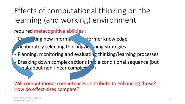 Effects of computational thinking on the learning (and working) environment required metacognitive abilities : - Connectin...