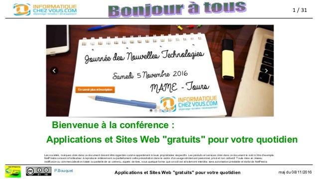 """Applications et Sites Web """"gratuits"""" pour votre quotidien maj du 08/11/2016P.Bouquet Applications et Sites Web """"gratuits"""" ..."""