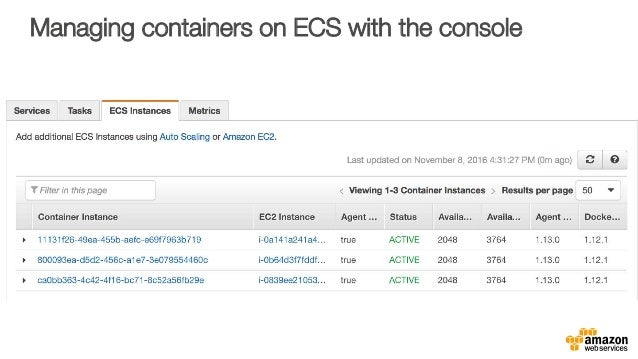 Managing containers on ECS with the console
