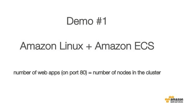 """Demo #1"""" """" Amazon Linux + Amazon ECS"""" """" number of web apps (on port 80) = number of nodes in the cluster"""""""