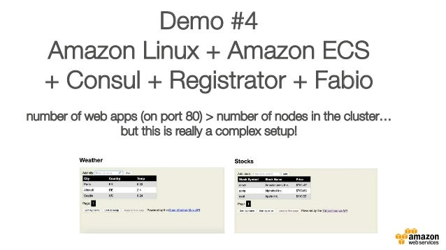 "Demo #4 "" Amazon Linux + Amazon ECS "" + Consul + Registrator + Fabio"""" "" number of web apps (on port 80) > number of nodes..."