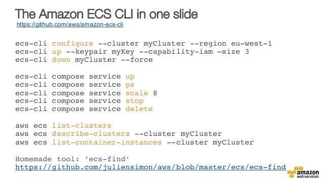 The Amazon ECS CLI in one slide ecs-cli configure --cluster myCluster --region eu-west-1 ecs-cli up --keypair myKey --capa...