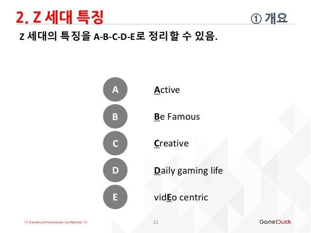 !!! GameDuck Presentation, Confidential !!! Z 세대의 특징을 A-B-C-D-E로 정리할 수 있음. 2. Z 세대 특징 ① 개요 11 A B C D E Active Be Famous C...