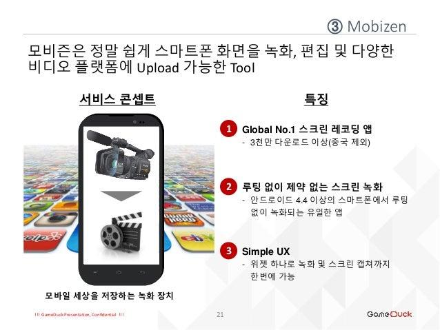 !!! GameDuck Presentation, Confidential !!! ③ Mobizen 21 모비즌은 정말 쉽게 스마트폰 화면을 녹화, 편집 및 다양한 비디오 플랫폼에 Upload 가능한 Tool 서비스 콘셉트...