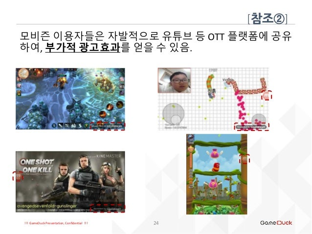 !!! GameDuck Presentation, Confidential !!! [참조②] 24 모비즌 이용자들은 자발적으로 유튜브 등 OTT 플랫폼에 공유 하여, 부가적 광고효과를 얻을 수 있음.