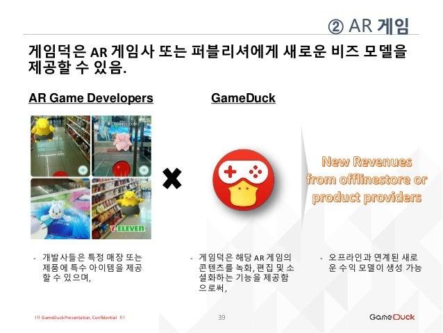 !!! GameDuck Presentation, Confidential !!! 게임덕은 AR 게임사 또는 퍼블리셔에게 새로운 비즈 모델을 제공할 수 있음. 39 ② AR 게임 AR Game Developers - 개발사...