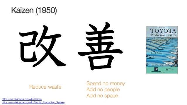 Kaizen (1950) Spend no money Add no people Add no space   https://en.wikipedia.org/wiki/Kaizen https://en.wikipedia.org/wi...