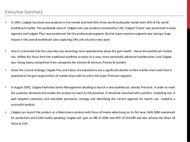 colgate precision case analysis This case is about colgate-palmolive canada: fighting for a share of the toothpaste market get your colgate-palmolive.