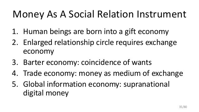 Money As A Social Relation Instrument 1. Human beings are born into a gift economy 2. Enlarged relationship circle require...