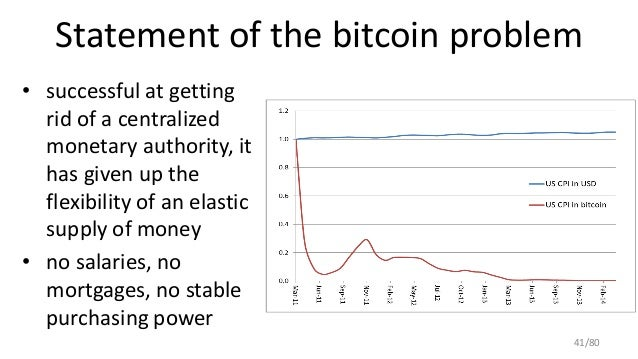 Statement of the bitcoin problem • successful at getting rid of a centralized monetary authority, it has given up the flex...